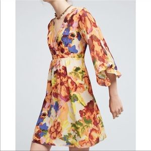 Anthropologie 100% Silk Cutout Back Dress by Maeve